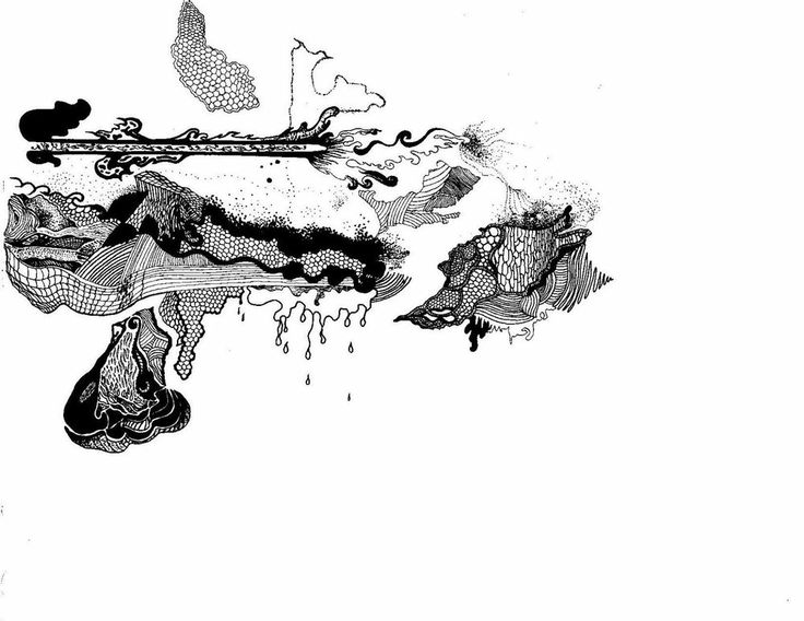 Black and White Abstract Ink Drawing - Original Signed #Abstract