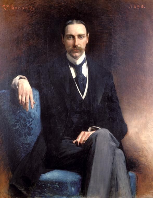 Portrait c.1896, of John Jacob Astor IV, (1864-1912). An American Gilded Age society member, a Lieutenant Colonel in the Spanish-American War, and wealthy businessman.  He perished during the sinking of the Titanic, and was considered one of the richest men in the world, during the era. ~  Portrait by French artist: Leon Bonnat, (1822-1933) ~ {cwlyons} ~ (Image: The NYPL)