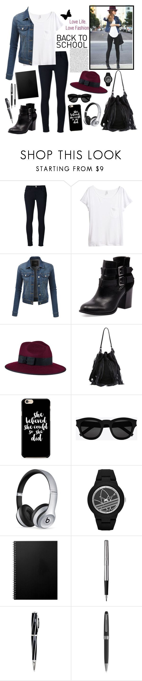 """""""Back to school outfit"""" by whims-and-craze ❤ liked on Polyvore featuring Frame Denim, H&M, LE3NO, Bonbons, Christys', Loeffler Randall, Yves Saint Laurent, Beats by Dr. Dre, adidas and Parker"""