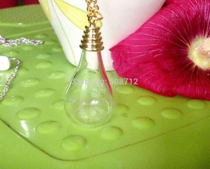 Стекло глобус ожерелье своими руками комплект - 24  золото цепь и золото кепка и 18 x 30 мм капля воды лежа база прозрачное стекло глобус