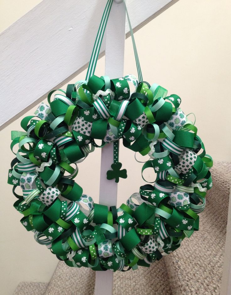 St Patricks Day wreath made from ribbon