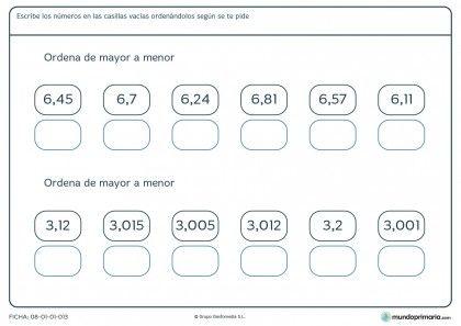 Ficha de ordenar números con decimales para primaria