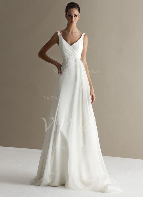 Robes de mariée - $150.52 - Forme Princesse Col V Traîne Balayage/Pinceau Mousseline de soie Robe de mariée avec Plissé (0025093727)