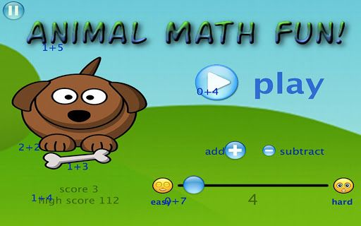 Learn to add and subtract while having fun with cute little animals!  Animal Math Fun is a cute animal themed game for learning addition and subtraction.   Solve math equations starting the easiest level 1 (i.e. 0+1=__ for addition or 2-1=__ for subtraction) and gradually progressing all the way to the hardest equations on level 99 (i.e. 42+57=__ for addition and 156-57=__ for subtraction).  Every time you get an equation correct, a random animal noise is played (i.e. Moooo!, Ruff Ruff…