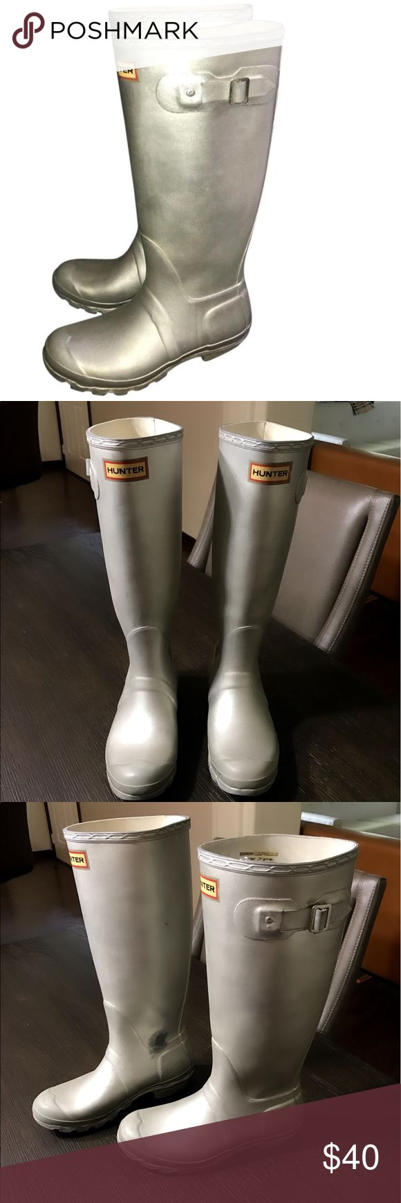 Authentic Hunter Boots silver rubber rain boots 6 Authentic Hunter Boots silver rubber rain boots 6 loved condition have scuffs/marks sold as is Hunter Boots Shoes Winter & Rain Boots