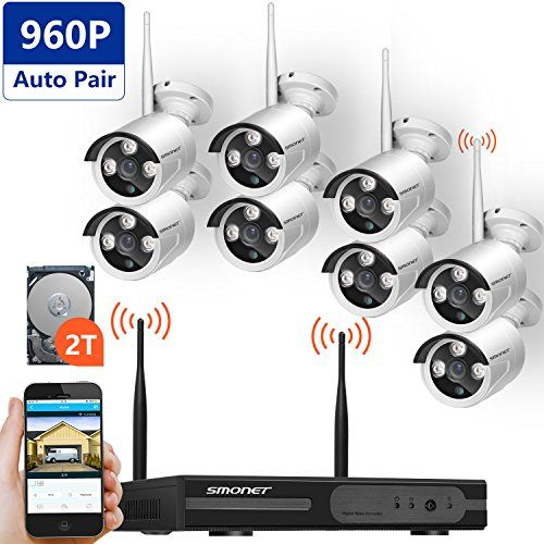 Wireless Security Camera System,SMONET 8CH 960P HD Wireless Network/IP Security Camera System(WIFI NVR Kits),8PCS 960 Wireless Indoor/Outdoor IP Cameras,P2P,Superior Night Vision,2TB HDD Pre-installed