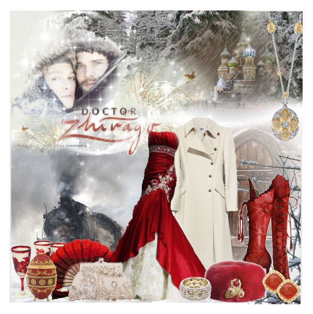 Doctor Zhivago by helleka on Polyvore featuring polyvore, fashion, style, Philosophy di Alberta Ferretti, CO, Adrienne Landau, Nikon, clothing, vintage inspired, doctor zhivago, clutches, hans matheson, red gowns, fur hats, long coats, fans, leather boots and keira knightley