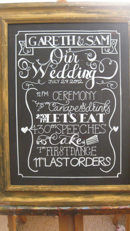 wedding order of service - custom designed chalkboards by valentine's custom chalk