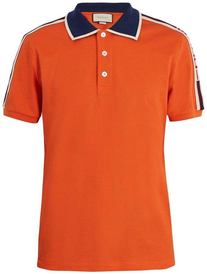 fd7a29c86e4 GUCCI Web collar polo shirt  orangeshirt 😎