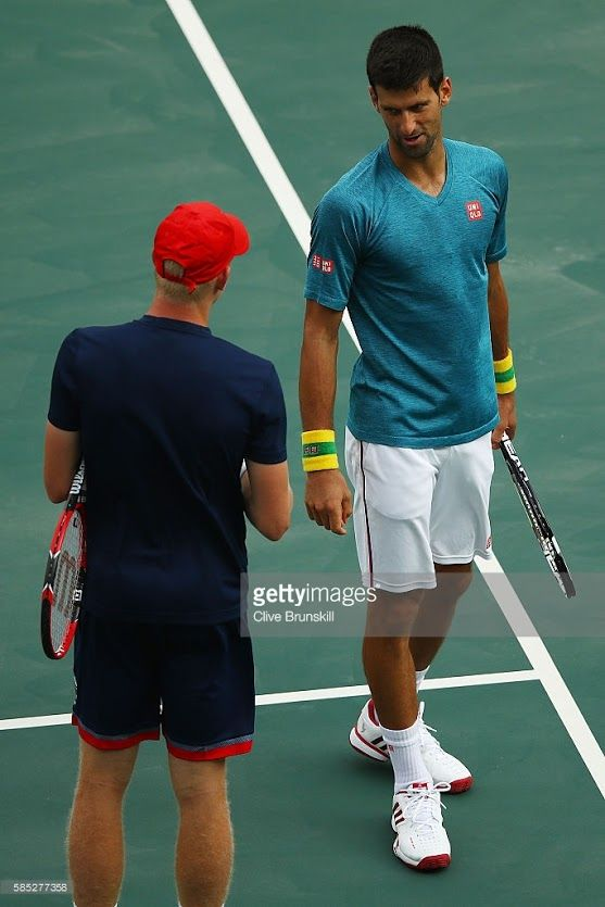 Kyle Edmund of Great Britain and Novak Djokovic of Serbia are seen during a practice session ahead of the Rio 2016 Olympic Games at the Olympic Tennis Centre on August 2, 2016 in Rio de Janeiro, Brazil.