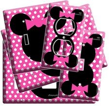 NEW MINNIE MOUSE HEAD PINK POLKA DOTS KIDS GIRLS ROOM DECOR LIGHT SWITCH OUTLET