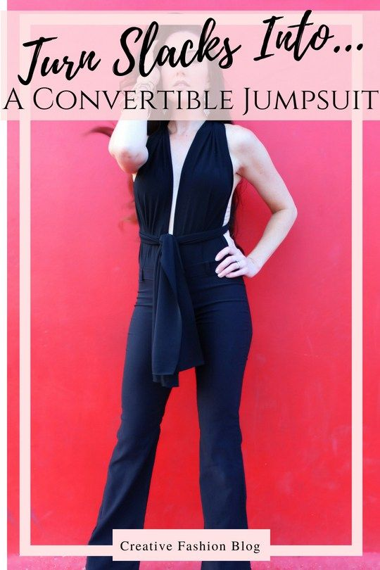 2115cf6ac5f How to make a refashion DIY convertible jumpsuit from a pair of regular  slacks