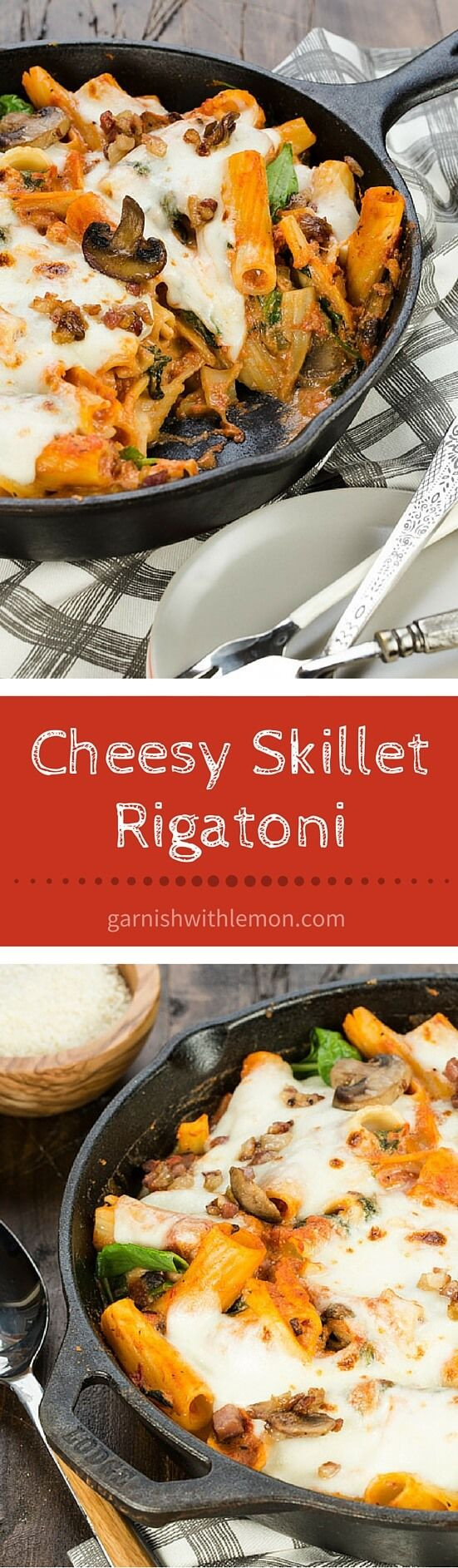 Cheesy Skillet Rigatoni is filled with cheese, pancetta and mushrooms ...