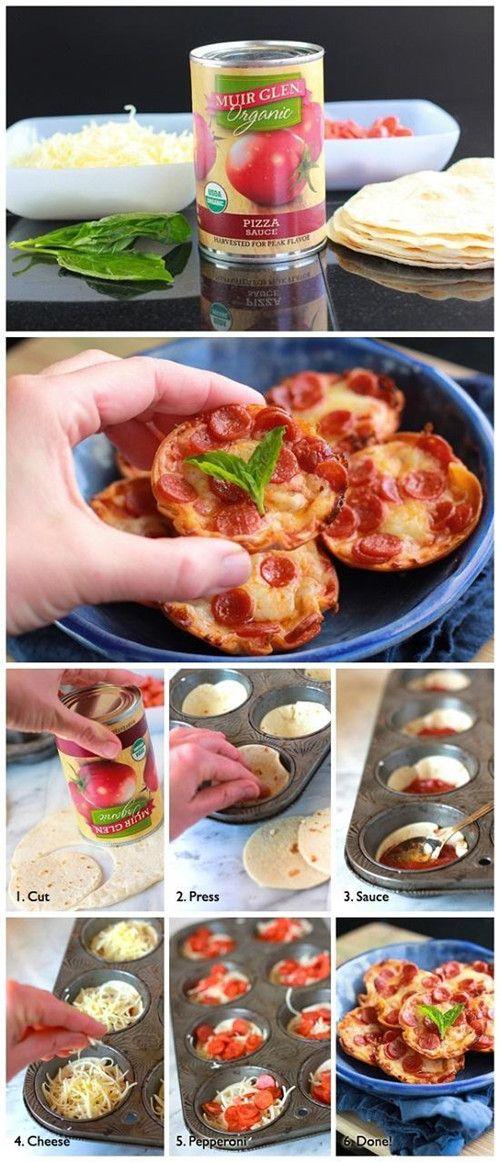 Mini Tortilla-Crust Pizzas - Love with recipe