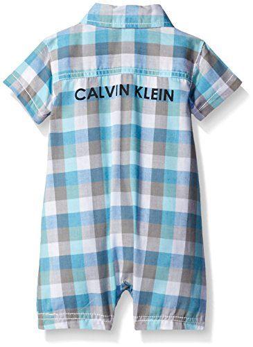 Amazon.com: Calvin Klein Baby Boys' Woven Plaid Poplin Romper, Blue, 24 Months: Clothing