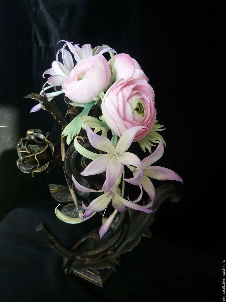 Купить Ободок из цветов Летний сад - бледно-сиреневый, обруч с цветами, ранункулюсы, фотосессия