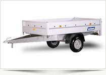 High-build Steel trailer 1 axle trailer without brake with the wheels under the box. Total weight 500 kg. or 750 kg. 35 cm. High steel sides. Perfect for use where space is cramped.