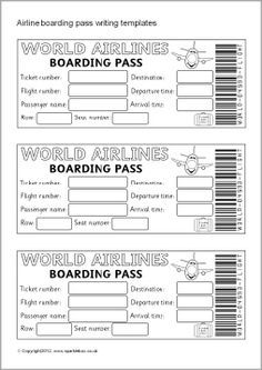 Airline ticket/boarding pass writing templates (SB7770) - SparkleBox