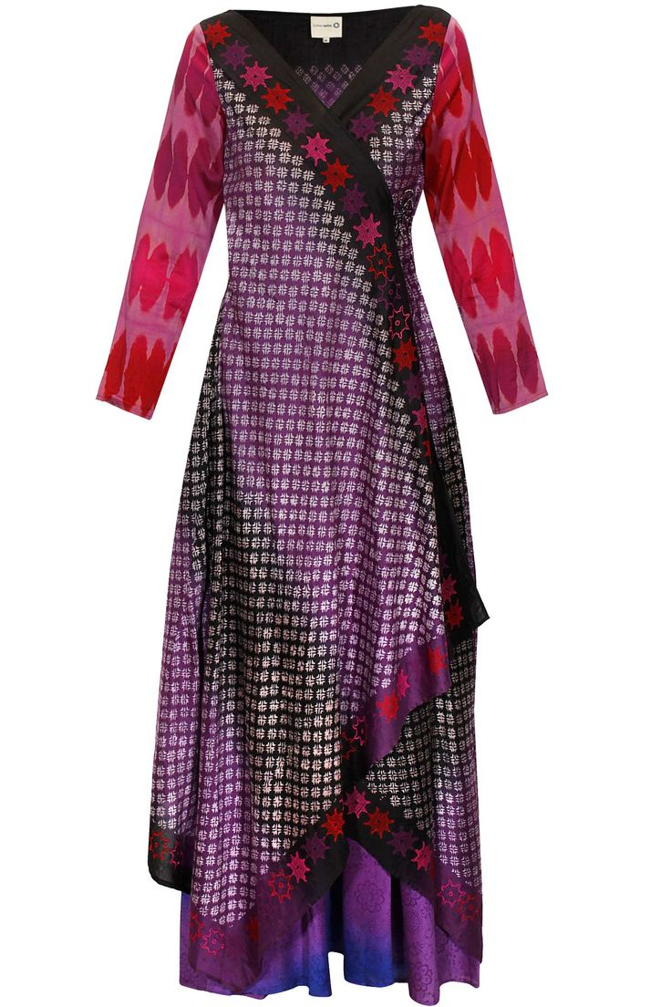 Purple and black angrakha with shaded palazzo pants by Krishna Mehta. Shop now: http://www.perniaspopupshop.com/designers/krishna-mehta #angrakha #krishnamehta #shopnow #perniaspopupshop