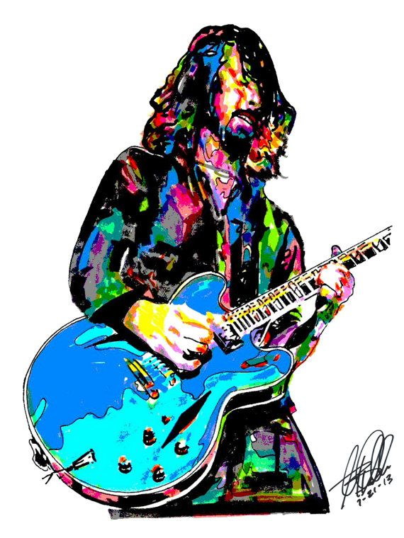 """Dave Grohl, Foo Fighters, Singer, Guitar Player, Drummer, Nirvana, POSTER from Original Drawing 18"""" x 24"""" Signed & Dated by Artist w/COA"""