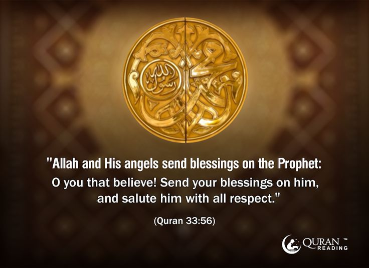 """Allah and His angels send blessings on the Prophet: O you that believe! Send your blessings on him, and salute him with all respect.""(Quran 33:56)"