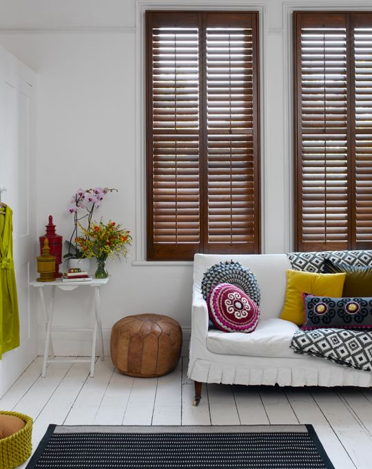 lovely pops of color: Living Rooms, Window, Color, Interiors, White Rooms, Wood Shutters, Beaches Houses, Paintings Floors, White Wall