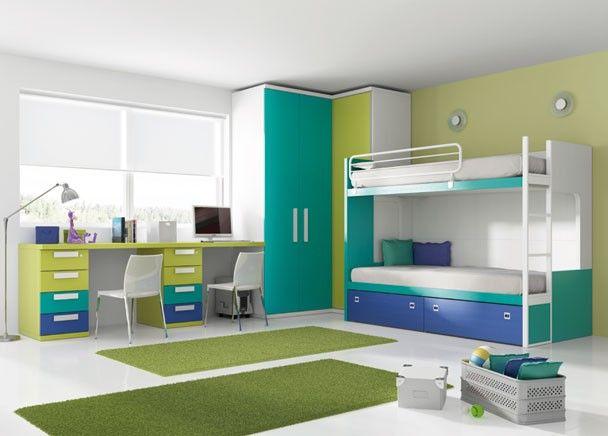 Mejores 164 im genes de dormitorios juveniles acabado azul - Habitacion juvenil doble ...