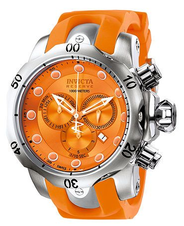 Invicta Watch, Men's Swiss Chronograph Reserve Venom Orange Polyurethane Strap 54mm 1402