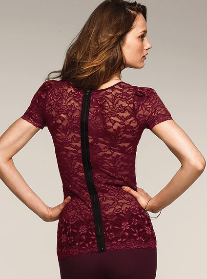 Stretch Lace Zip-back Top. Total miss for me. Not a fan of the puffy shoulders and the zip-back that draws too much attention to itself.