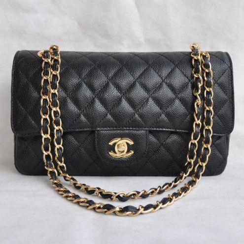 Chanel 2.55 Series Caviar Leather Flap Bag 1112 Black Golden - Dobestbuy Chanel USA Online Shop - Cheap Chanel Handbags USA Online Sale,Get 79% Discount Off Now!