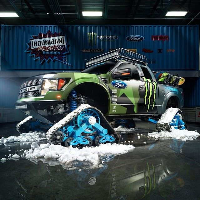 Making dreams a reality! @kblock43 introduces his Ford F-150 #RaptorTRAX…The world's fastest snowcat for backcountry snowboardin...
