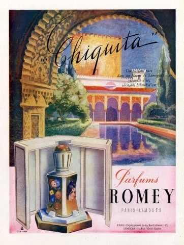 Vintage French Ad-Parfums Romey Paris 1946