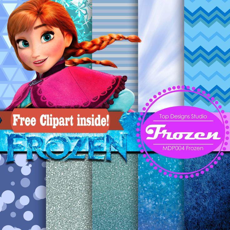 10 x Frozen Scrapbooking FROZEN DIGITAL Paper -  FREE Anna Elsa ClipArt with Frozen Digital Paper by Topdesignsstudio on Etsy https://www.etsy.com/listing/203254822/10-x-frozen-scrapbooking-frozen-digital