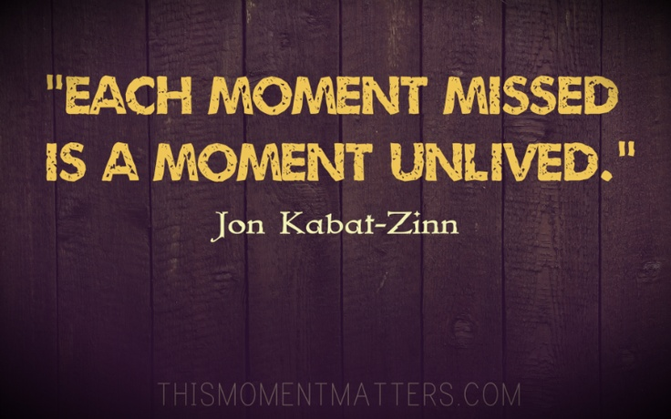"""One of my favorite quotes from Jon Kabat-Zinn: """"Each moment missed is a moment unlived."""""""