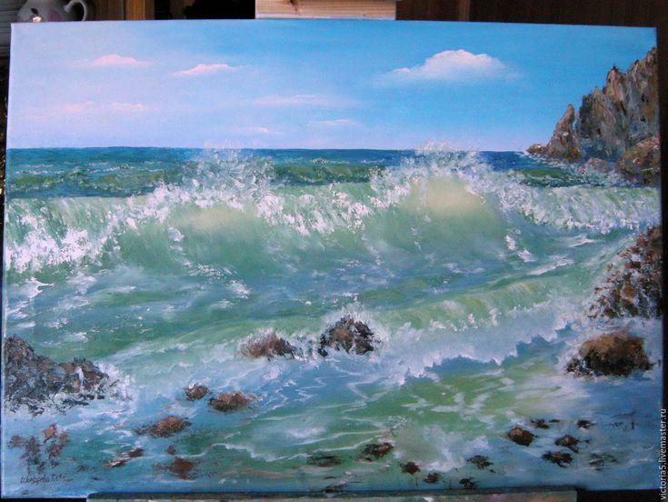 Купить Морской прибой - большая картина маслом - комбинированный, картина маслом купить, картина на заказ