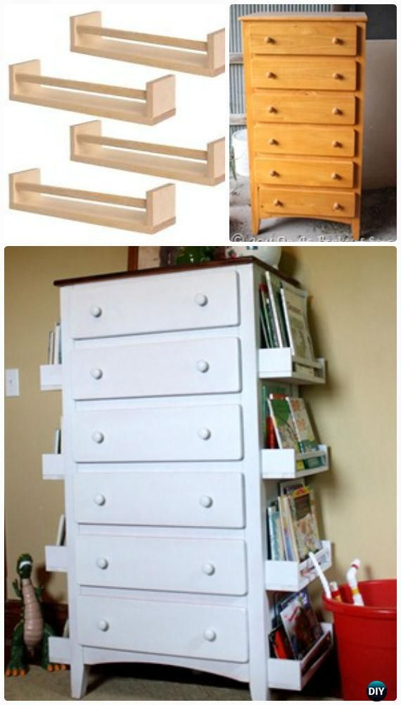 DIY Spice Rack Bookshelf Dresser Makeover Instructions - Back-To-School Kids #Furniture DIY Ideas Projects