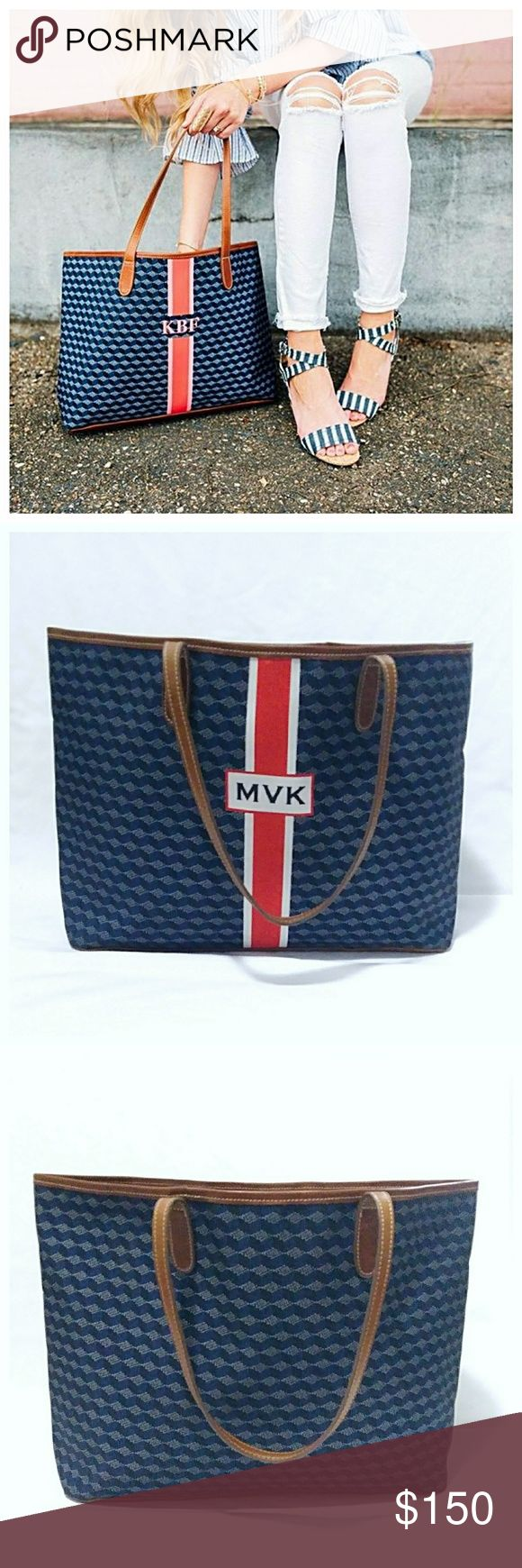 """Barrington Monogrammed St. Ann Tote Authentic Barrington tote that features a roomy interior, zipper pouch & three slip pockets. As you can see there are some interior spots and slight strap wear, but It's in great shape overall. If your initials don't match MVK, you can find creative ways to cover or alter it, or simply wear that side against you. Comes from a smoke-free, pet-free clean home. Covershot is for reference only. Measures 12"""" H x 14"""" L x 6"""" W + 10"""" strap drop. 💥 Reasonable…"""