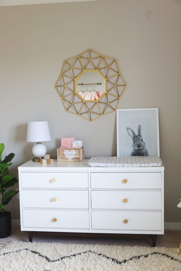 Changing Table with Gold Accents
