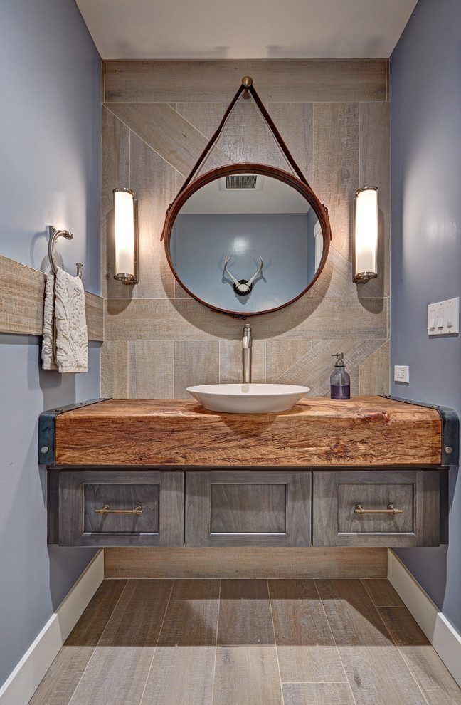 Sacramento Wood Vanity Top Powder Room Farmhouse With Floating