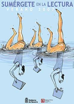 Bibliopiscina 2007. El diseño del material de promoción se ha encomendado este año a César Oroz, y tiene como motivo nadadoras que practican ballet acuático al tiempo que leen.