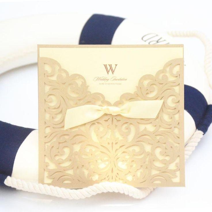 30 unids invitación de la boda elegante papel cortado con láser decoración del arco dorado partido invitación , invitaciones de boda(China (Mainland))