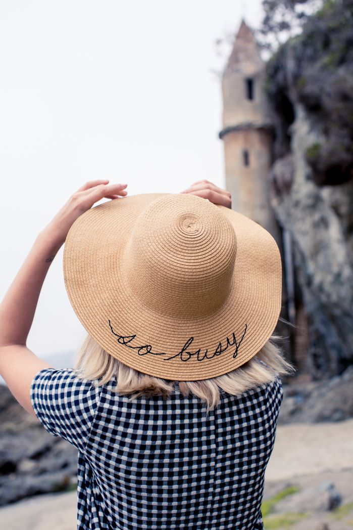 So busy - embroidered straw hat