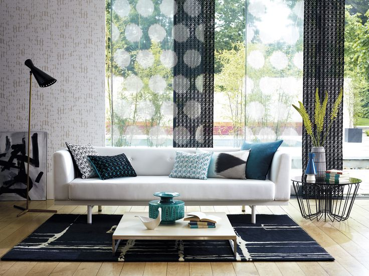 Monochrome living featuring voiles from Harlequin's Momentum Sheers & Structures collection
