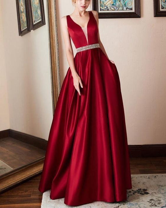 A Line Satin Wine Red Long Evening Dresses Party Prom Gown with beading Belt  by RosyProm 497496c16f24