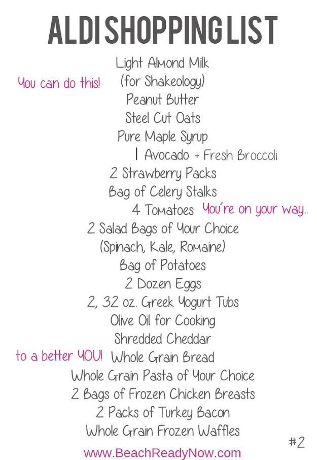 Are you and ALDI shopper on the 21 Day Fix?  Here is a meal plan and shopping list done for you!