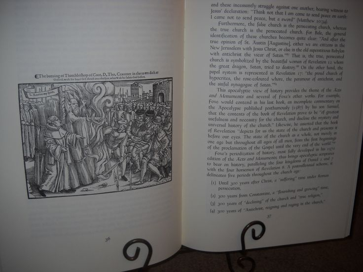 Duplicate of a woodcut illustration from the first edition of John Foxe's Actes and Monuments 1563.  This illustration depicts the martyrdom of Thomas Cranmer.
