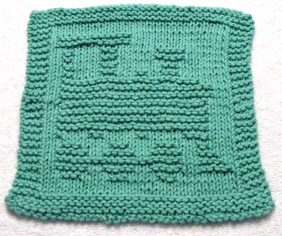 Baby Washcloths Knitting Patterns: Knitting Cloth Pattern - TRAIN - PDF