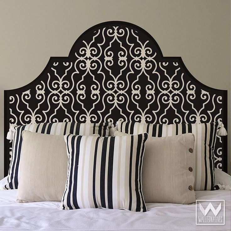 Blue and White Elegant Trellis Pattern Headboard Removable Wall Decals for Dorm Decor - Wallternatives