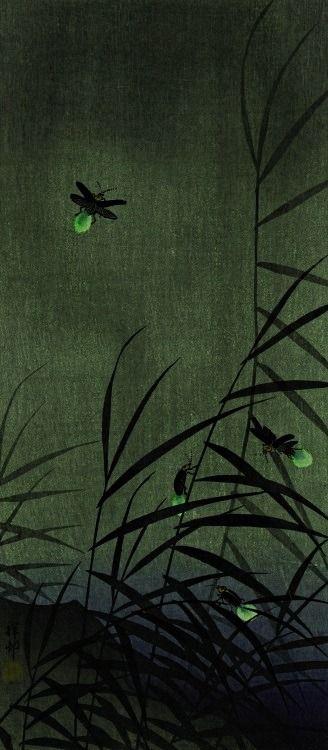 'Fireflies' (c.1930) by Japanese artist & printmaker Ohara Koson (1877-1945)