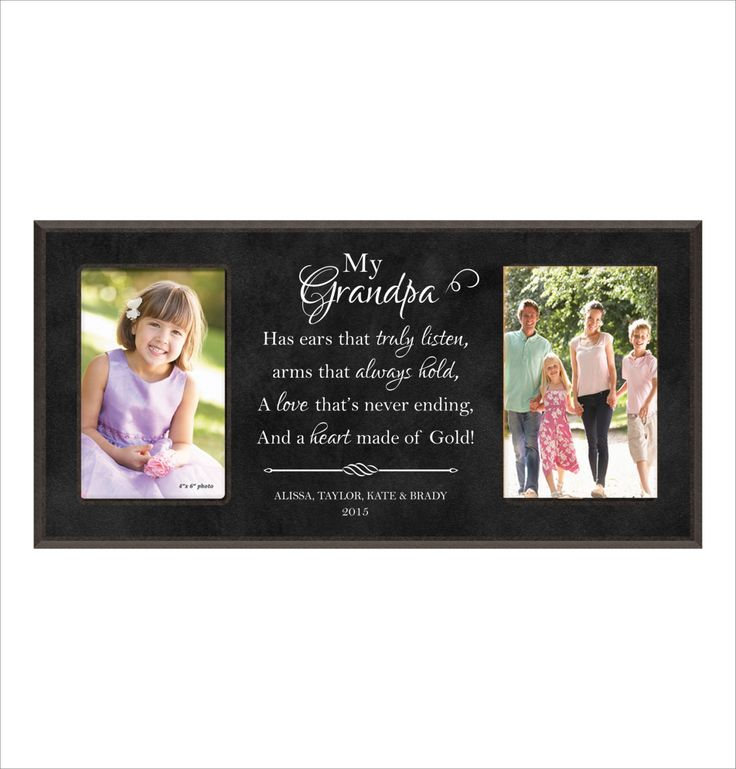 Personalized Gift for Grandpa ,Grandfather gift, Papa Gift, Double Photo Frame, Fathers Day Gift, My Grandpa, Laser Engraved by BeInspiredKeepsakes on Etsy